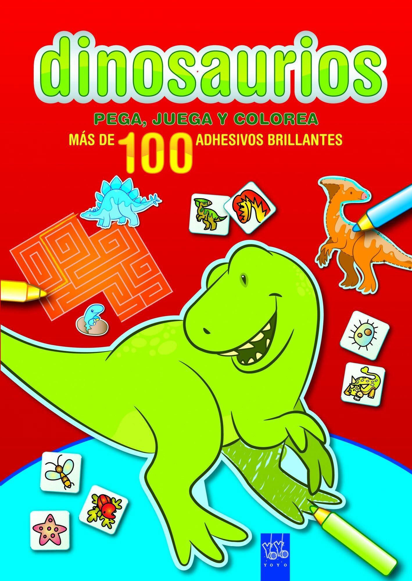 Dinosaurios: Pega, Juega Y Colorea: Rojo por Yoyo