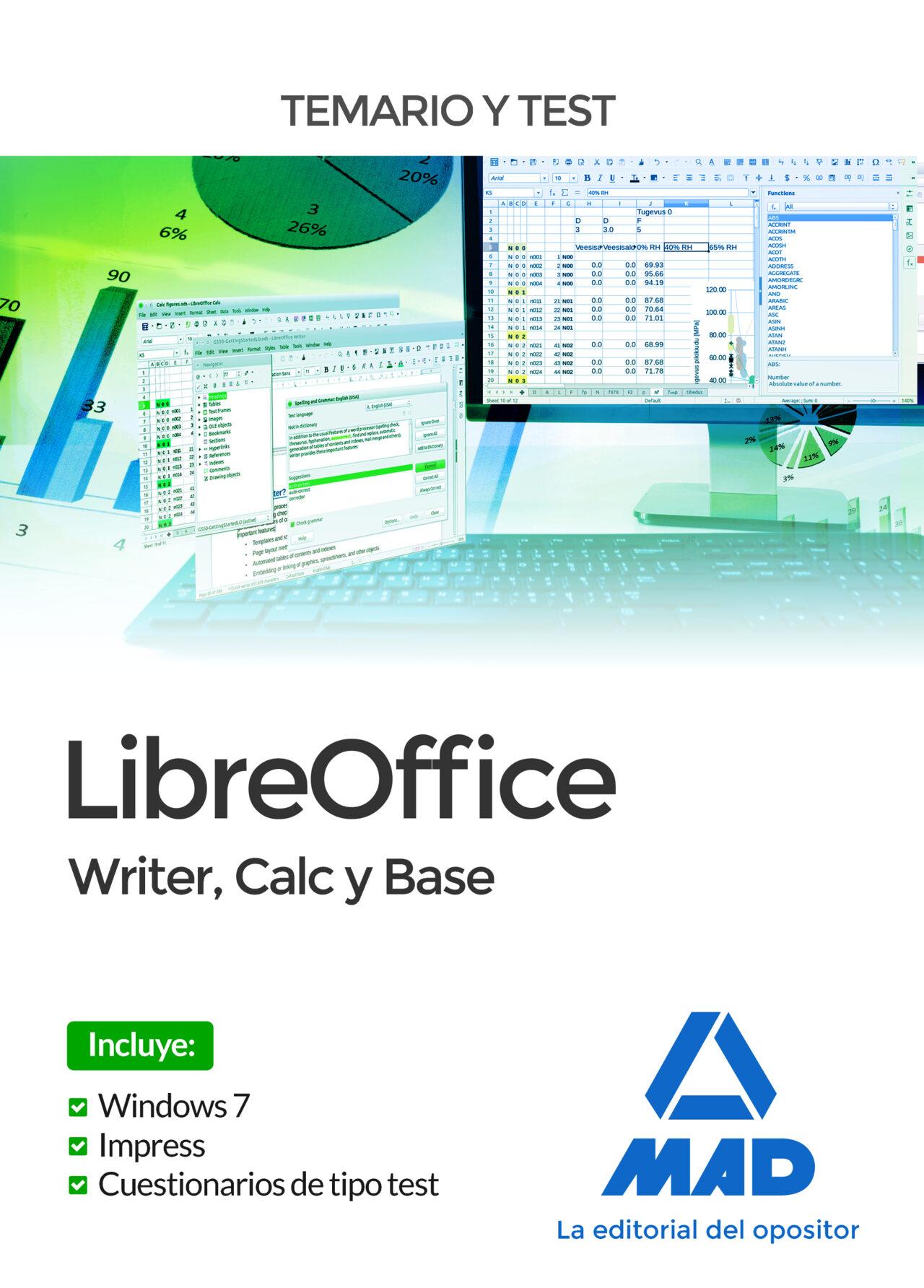 libreoffice: writer, calc y base. temario y test-9788414212707