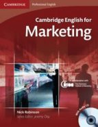 cambridge english for marketing (student s book/ audio cd) nick robinson 9780521124607