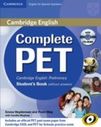 complete pet for spanish speakers student s book without answers 9788483237397
