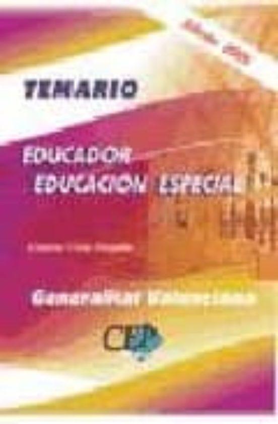 EDUCADOR EDUCACION ESPECIAL GENERALITAT VALENCIANA: TEMARIO