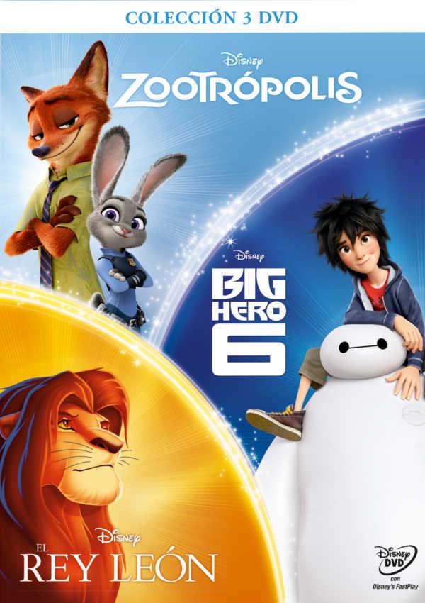 pack chicos zootropolis - big hero - rey leon - dvd --8717418517892
